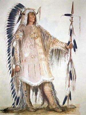George Catlin - Mato-Tope, second chief of the Mandan people in 1833