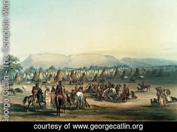 George Catlin - Camp of Piekann Indians