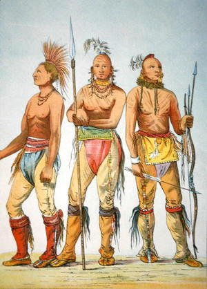 George Catlin - Three Osage Braves, 1841
