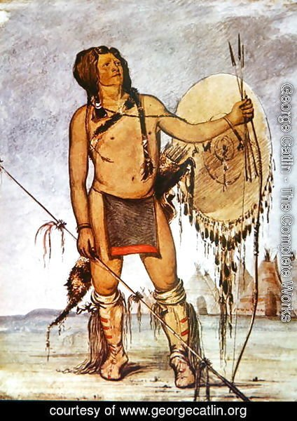George Catlin - Comanche warrior with a shield, lance and bow and arrows, c.1835