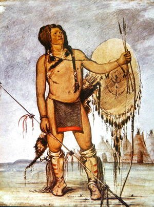 Comanche warrior with a shield, lance and bow and arrows, c.1835