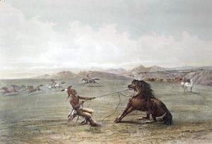 George Catlin - Catching Wild Horses on the Plains