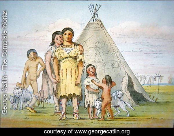 A Comanche family outside their teepee, 1841