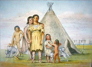 George Catlin - A Comanche family outside their teepee, 1841