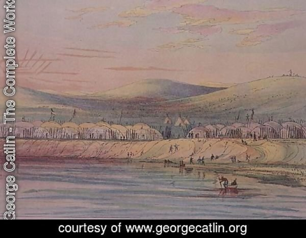George Catlin - Riccaree village,  Native American Indian