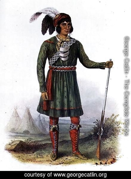 George Catlin - Osceola or 'Rising Sun', a Seminole Leader, 1838, illustration from 'The Indian Tribes of North America
