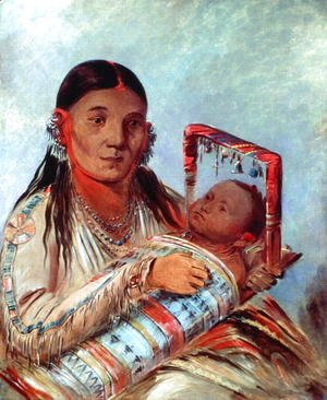 George Catlin - Sioux mother and baby, c.1830