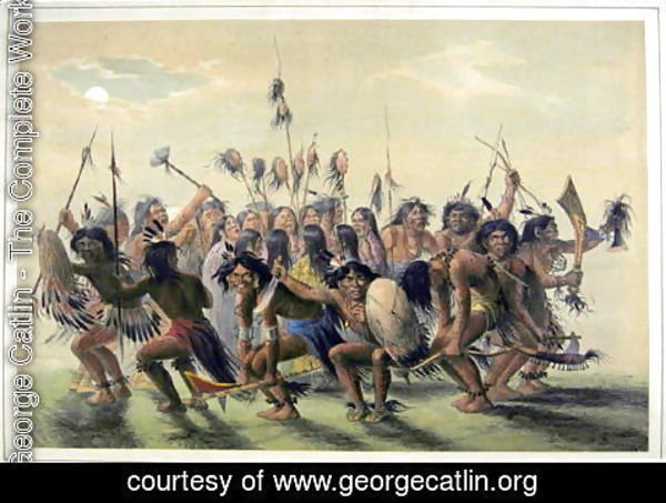 George Catlin - Native Americans performing a tribal group dance