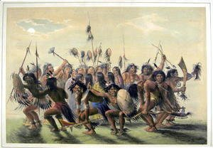 Native Americans performing a tribal group dance