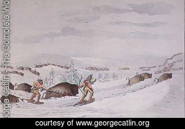 George Catlin - Hunting buffalo on snow-shoes