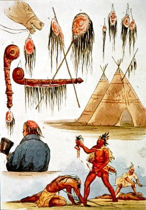 George Catlin - Scalping and decorative use of scalps