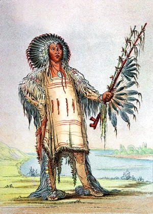George Catlin - Mandan Indian Ha-Na-Tah-Muah, Wolf chief