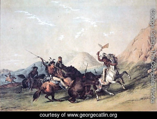 Native Americans killing a bear