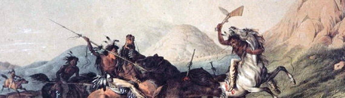George Catlin - Native Americans killing a bear