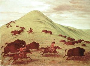 George Catlin - Sioux Indians hunting buffalo, 1835