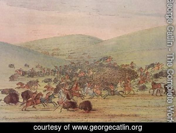George Catlin - Minatarees attacking buffalo on horseback