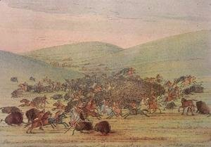 Minatarees attacking buffalo on horseback