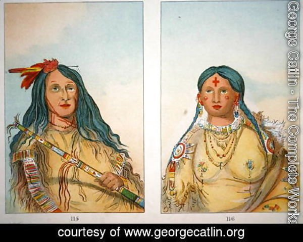 George Catlin - 'Chief Wolf on the Hill' and his wife 'She who Bathed her Knees', 1841