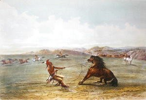 George Catlin - Osage hunters catching wild horses