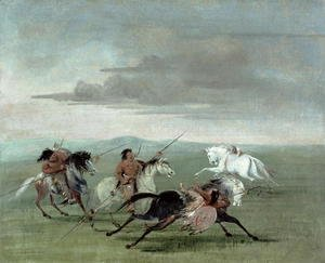 George Catlin - Comanche Feats of Martial Horsemanship, 1834