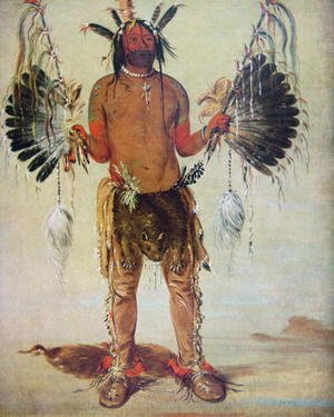 George Catlin - 'Old Bear' medicine man of the Mandan Tribe, from a painting of 1832