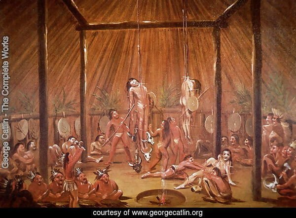 The O-Kee-Pa self-torture religious ceremony of the Mandan tribe, from a painting of c.1835