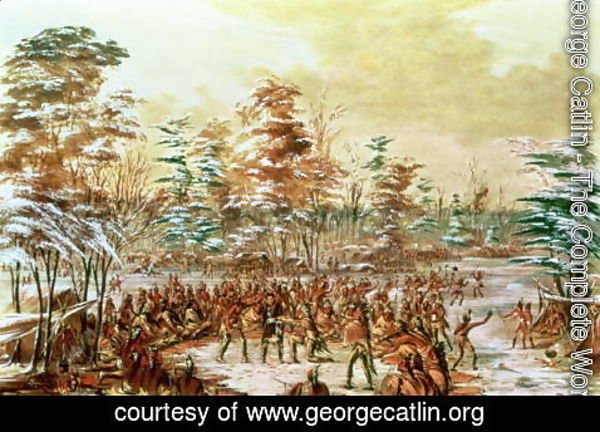 George Catlin - De Tonty Suing for Peace in the Iroquois Village in January 1680, 1847-48