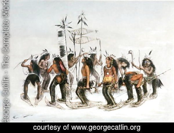 George Catlin - The Snow-Shoe Dance: To Thank the Great Spirit for the First Appearance of Snow