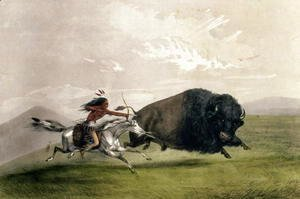 George Catlin - The Buffalo Chase 'Singling Out'