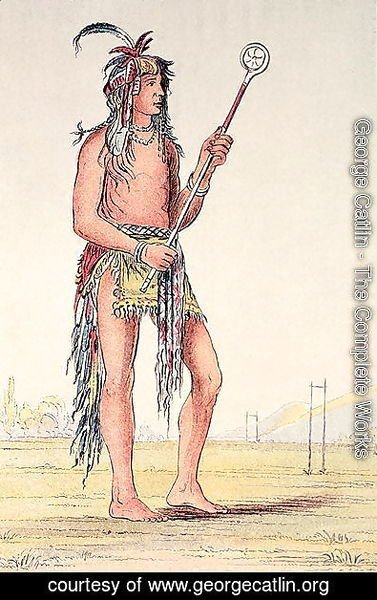 George Catlin - Sioux ball player Ah-No-Je-Nange, 'He who stands on both sides'