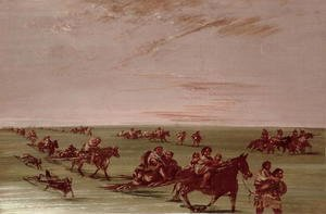 George Catlin - Red Indians using the Travois