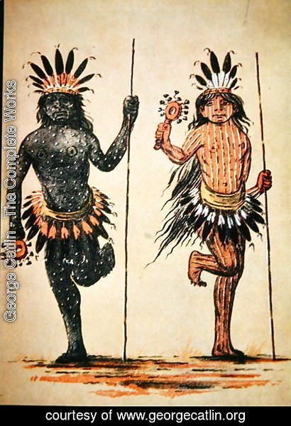 A Mandan tribal dance representing 'Day' and 'Night', from a painting of c.1835