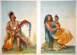 George Catlin - Head Chief Clermont and his wife and child, 1841