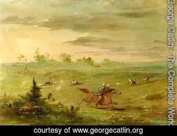 George Catlin - Ostrich Chase, Buenos Aires