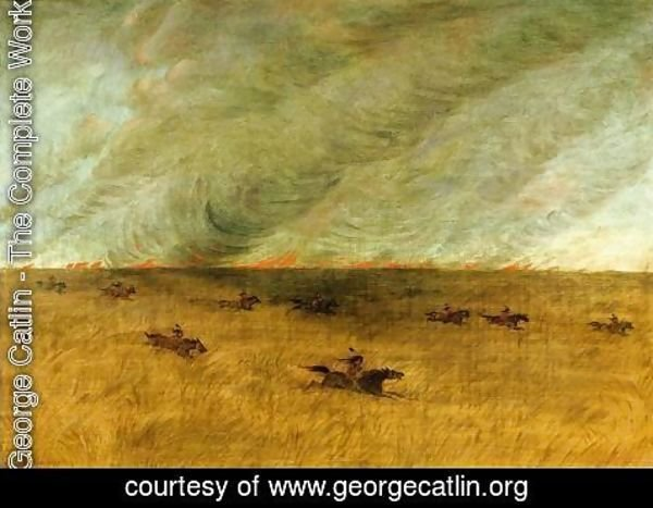 George Catlin - Fire in a Missouri Meadow and a Party of Sioux Indians Escaping from It, Upper Missouri