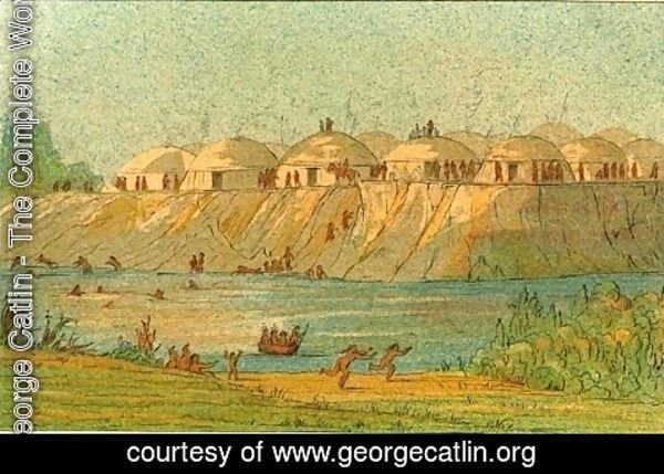 George Catlin - A village of the Hidatsa tribe at Knife River