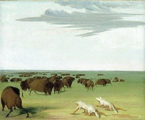 George Catlin - Buffalo Hunt under the Wolf-skin Mask