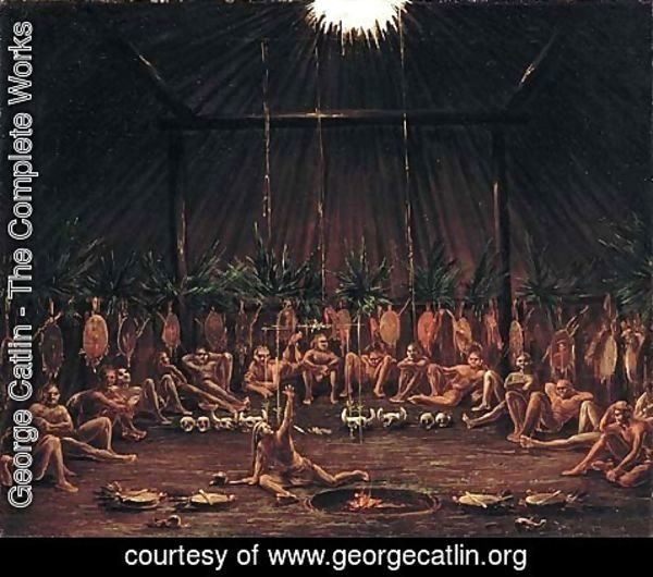 George Catlin - Interior View of the Medicine Lodge, Mandan O-kee-pa Ceremony