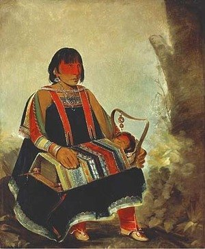 George Catlin - Jú-ah-kís-gaw, Woman with Her Child in a Cradle