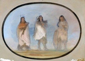George Catlin - Little Bear, Steep Wind, The Dog; Three Distinguished Warriors of the Sioux Tribe