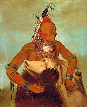 George Catlin - Osage warrior of the Wha-sha-she band (a subdivision of Hunkah)