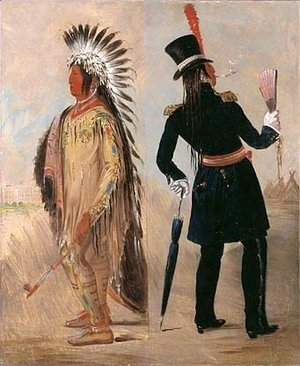 George Catlin - Pigeon's Egg Head (The Light) Going to and Returning from Washington