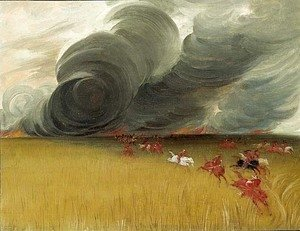 George Catlin - Prairie Meadows Burning