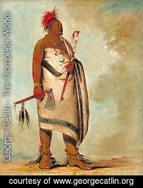 George Catlin - Shonka Sabe (Black Dog). Chief of the Hunkah division of the Osage tribe