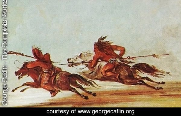 War on the plains. Comanche (right) trying to lance Osage warrior