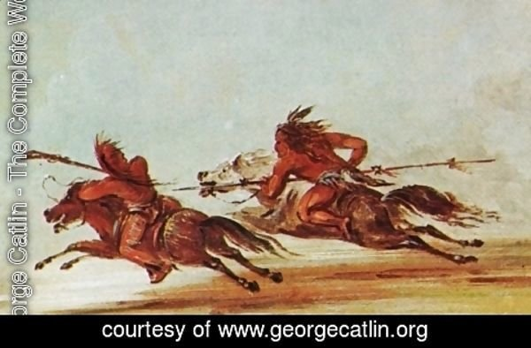 George Catlin - War on the plains. Comanche (right) trying to lance Osage warrior