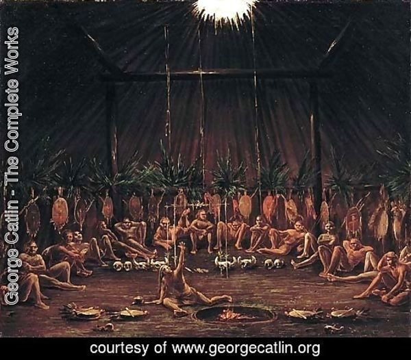 Interior View of the Medicine Lodge Mandan O kee pa Ceremony 1832