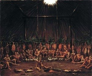 George Catlin - Interior View of the Medicine Lodge Mandan O kee pa Ceremony 1832