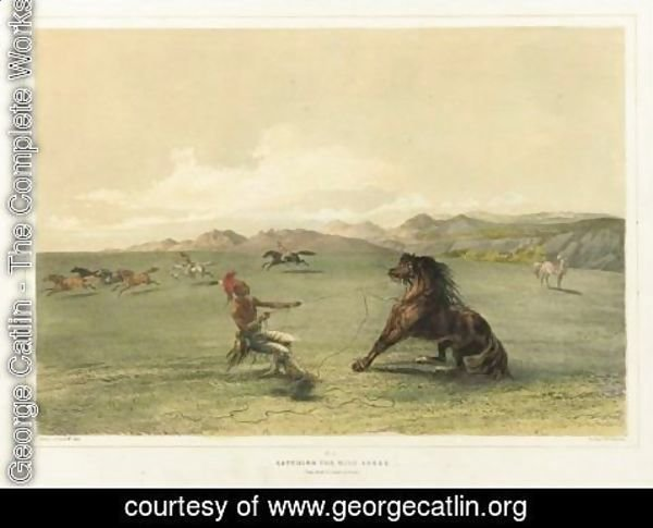 George Catlin - Catching The Wild Horse And Buffalo Hunt, Under The White Wolf Skin