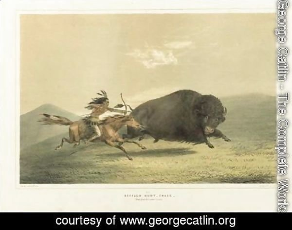 George Catlin - Buffalo Hunt, Chase And Antelope Shooting